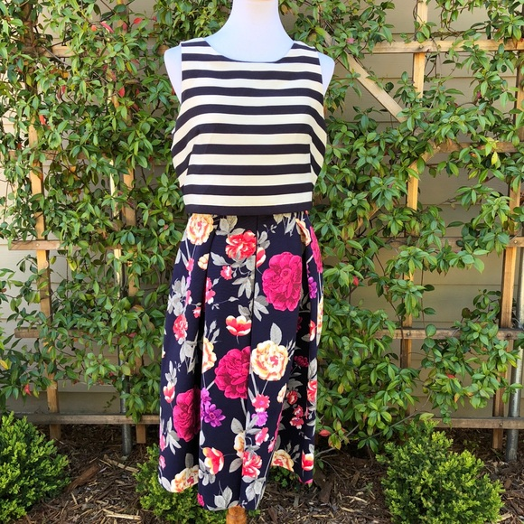 9ba10bc10c45 Anthropologie Dresses & Skirts - Anthropologie split print dress stripe  floral